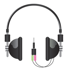 headphones black vector image vector image