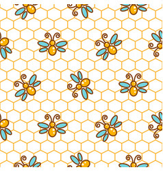 Honeycomb pattern and bees line background vector