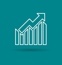 isolated linear icon of growth chart vector image