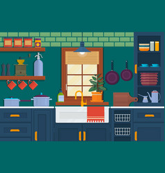 Kitchen with furniture cozy room interior with vector