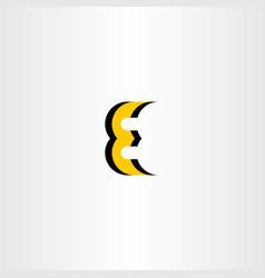 letter e yellow black icon logo vector image vector image