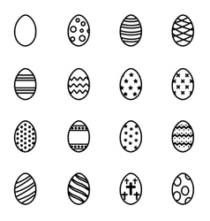 line easter icon set vector image