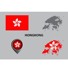 Map of Hongkong and symbol vector image vector image
