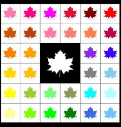 Maple leaf sign felt-pen 33 colorful vector