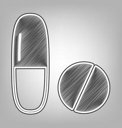 Medical pills sign pencil sketch vector