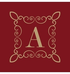 Monogram letter a calligraphic ornament gold vector