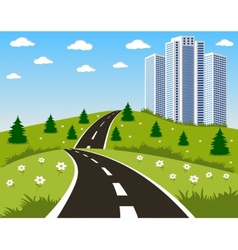 Road to a city vector