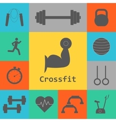 Set of crossfit icons sport fitness gym vector