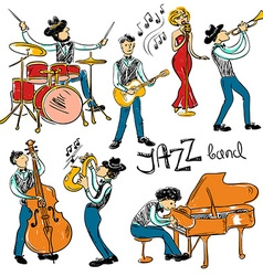 Set Of Isolated Colorful Jazz Musicians vector image