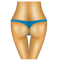 Sexy bum of woman in blue bikini vector