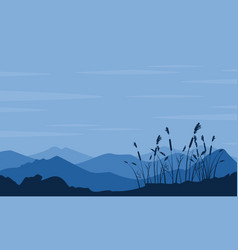 Silhouette of desert with grass landscape vector
