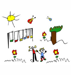 Spring time child drawing vector