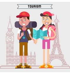 Travel banner tourism industry active people vector