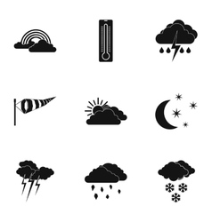 Type of weather icons set simple style vector