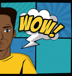 Young man pop art cartoon vector