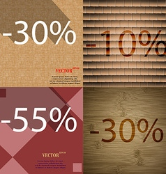 10 55 30 icon set of percent discount on abstract vector