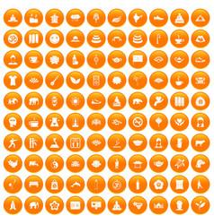 100 yoga icons set orange vector