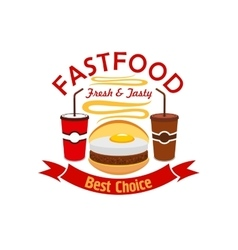 Hamburger fast food with fried egg emblem vector