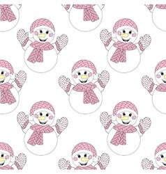 Zentangle snowman seamless pattern hand drawn vector