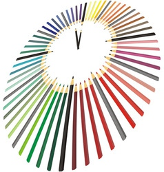 Clock made of crayons in perspective vector