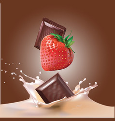 Chocolate strawberry and milk vector
