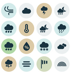 Weather icons set collection of colors breeze vector