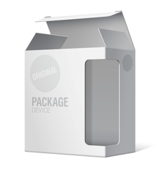 Realistic package box for software device vector