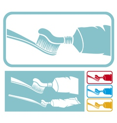 toothbrush and toothpaste icon vector image