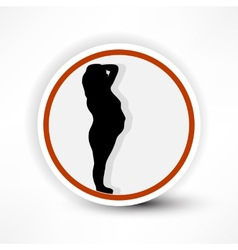 Warning sign of pregnant women in red on a white vector