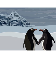 Cartoon the penguins couple in the north vector