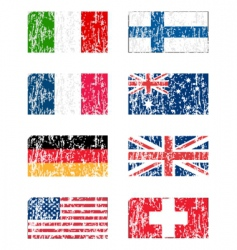 Grunge flags set vector