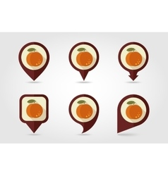 Peach mapping pins icons vector