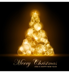 golden glowing christmas tree vector image