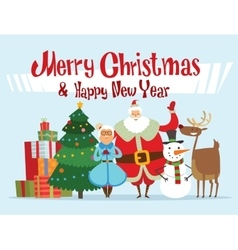 Santa missis claus elf kids helpers family vector