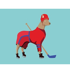 Hockey dog mascot in red sportswear vector
