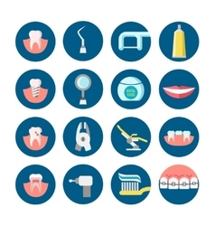 Dental clinic services flat icons vector