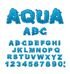 Aqua abc drops of water alphabet wet letters water vector