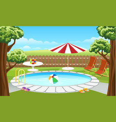 Backyard pool with fence and parasol vector