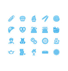 bakery confectionery flat line icons sweet shop vector image vector image