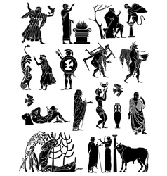 Big collection of silhouettes of greeks vector