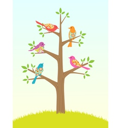 Bird tree vector image vector image