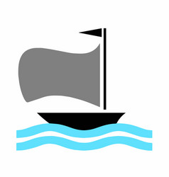 Boat with blue sea vector