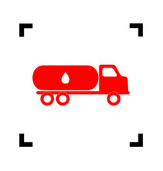 Car transports oil sign red icon inside vector