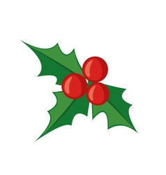 Christmas mistletoe icon in flat style vector image vector image