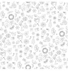 christmas seamless pattern xmas elements symbols vector image vector image