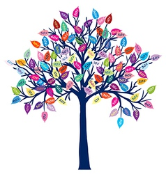Colored tree with discount leaves vector image vector image