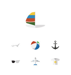 Flat icon beach set of aircraft deck chair ship vector