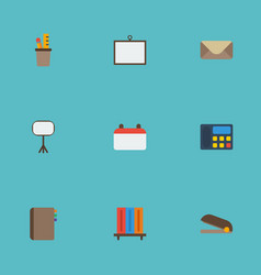 flat icons puncher bookshop pen holder and other vector image vector image
