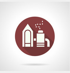 Industrial factory burgundy round icon vector