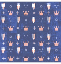 Kids royal pattern with crowns and shields vector
